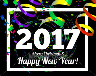 Happy New Year 2017 On A Background Of Confetti And Streamers. Vector Illustration Stock Photo