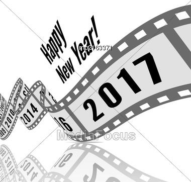 Happy New Year 2017. Film Strip Vector Illustration Stock Photo