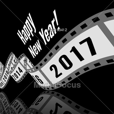 Happy New Year 2017. Film Strip Vector Illustration Stock Photo