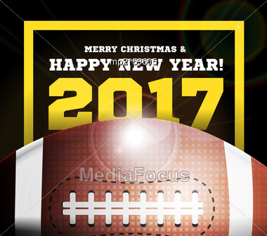 Happy New Year On The Background Of A Ball For Football. Vector Illustration Stock Photo