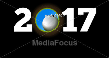 Happy New Year On The Background Of A Golf Ball Falling Into The Hole. Vector Illustration Stock Photo