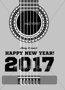 Happy New Year On The Background Of Guitars And Strings. Vector Illustration Stock Photo