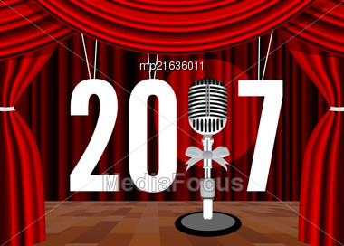 Happy New Year On The Background Of The Stage With A Microphone. Vector Illustration Stock Photo