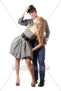Happy Playful Young Couple. Stock Photo
