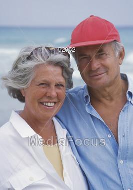 Happy Senior Couple on Vacation Stock Photo
