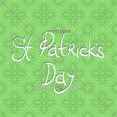 Happy St. Patricks Day Banner. White Text On Green Ornamental Background Stock Photo