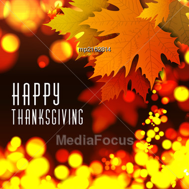 Happy Thanksgiving Vector Background With Autumn Leaves Stock Photo