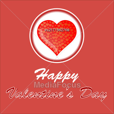 Happy Valentines Day Romantic Banner With Red Heart On White Background Stock Photo