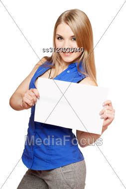 Happy Young Blonde Holding Empty White Board. Stock Photo
