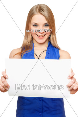 Happy Young Woman Holding Empty White Board. Stock Photo