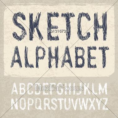 Hatching Alphabet Symbols Set. Vector, EPS 10 Stock Photo