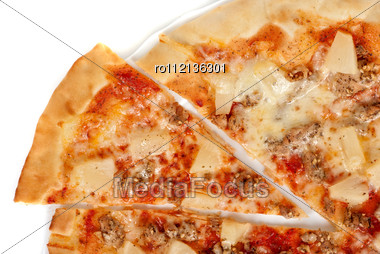 Hawaiian Pizza With Roasted Chicken, Pineapple, Garlic And Mozzarella Cheese Stock Photo