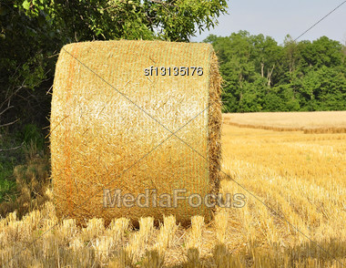 Hay Bail In A Field , Close Up Stock Photo