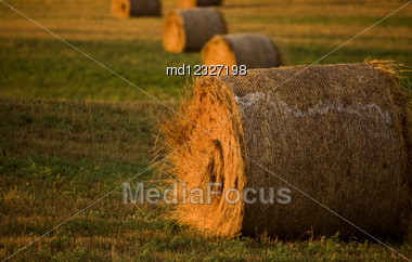 Hay Bales At Sunset In Saskatchewan Canada Stock Photo