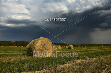 Hay Rolls Summer Landscape With Rainy Clouds Stock Photo