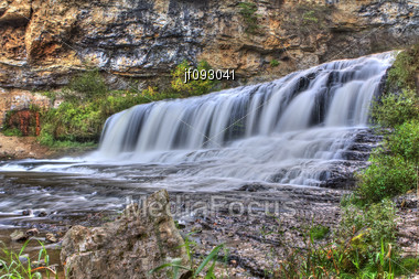HDR (High Dynamic Range) Image Of Willow River State Park Waterfall Stock Photo
