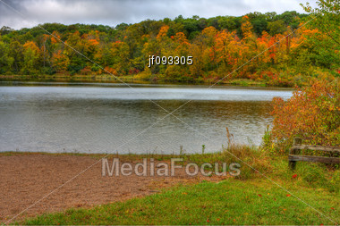 HDR Landscape Of Trees And Lake Alice In Wisconsin Stock Photo