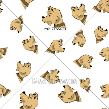 Head Of Dog Seamless Pattern Isolated On White Background Stock Photo