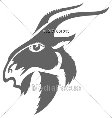 Head Of Horned Goat Isolated On White Background. Grey Silhouette Of Goat Stock Photo