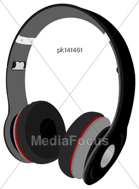 Headphones. EPS 10 Vector Sketch Illustration Without Transparency And Meshes Stock Photo