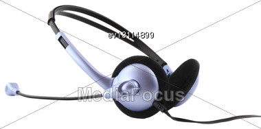 Headset With A Microphone. Isolated Stock Photo