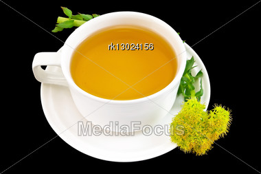 Healing Herbal Teas With Flower Rhodiola Rosea Isolated On Black Background Stock Photo