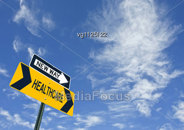 Healthcare New Way Road Sign Over Blue Sky With Copy Space Stock Photo