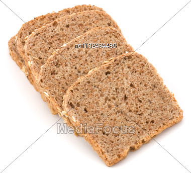 Healthy Bran Bread Slices With Rolled Oats Isolated On White Background Stock Photo