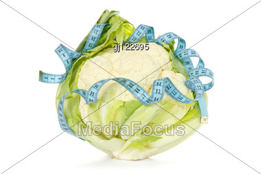 Healthy Food Concept. Cauliflower Wrapped By Blue Measure Tape. Stock Photo