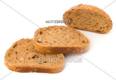 Healthy Grain Bread Isolated On White Background Stock Photo