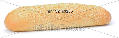Healthy Grain French Baguette Bread Loaf Isolated On White Background Stock Photo
