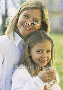 Healthy Looking Mom and Daughter Stock Photo