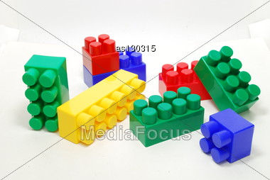 Heap Of Colored Lego Bricks Isolated On White Stock Photo