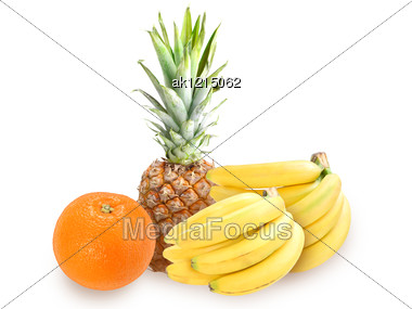 Heap Of Fresh Tropical Fruits. Placed On White Background. Close-up. Studio Photography. Stock Photo