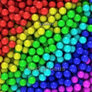 Heap Of Multicolored Balls, Three-dimensional Computer Graphic. Stock Photo