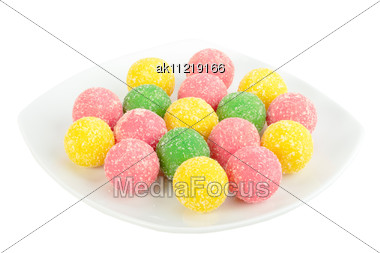 Heap Of Multicolored Sweets On White Plate Close-up Studio Photography Stock Photo