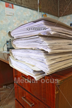 Heap Of The Papers On Table In Office Stock Photo