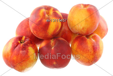 Heap Of Peaches With Cutting Of One, On White Background. Isolated Stock Photo
