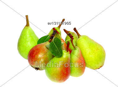 Heap Of Pear With Stem And Green Leaf. Isolated Over White Stock Photo