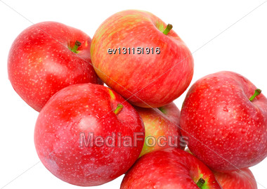 Heap Of Ripe, Red Apples. Isolated Over White Stock Photo