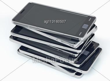 Heap Of Smart Phones Over White. Custom Rendered Stock Photo
