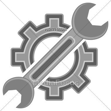 Hear And Wrench. Service Icon Isolated On White Background Stock Photo