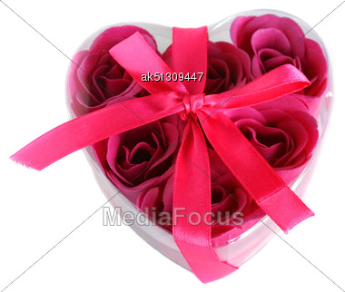 Heart Box With Rose Soap Isolated Stock Photo