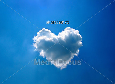Heart Cloud On The Blue Sky Stock Photo