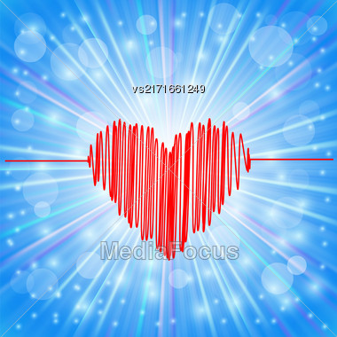 Heart Icon On Abstract Blue Background. Day Of Heart Symbol Stock Photo