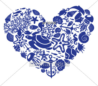 Heart Is Made Of Fishes, Korals, Shells, Starfishes, Dolphins, Seahorses, Tortillas Stock Photo