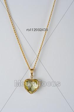 Heart Pendant Of Gold, Diamond And Lemon Quartz Stock Photo