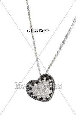 Heart Pendant Of White Gold And Black And White Diamond Stock Photo