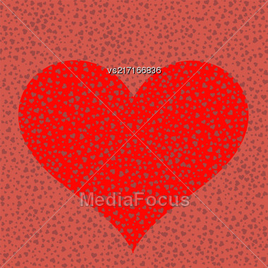 Heart On Red Romantic Background. Symbol Of Valentines Day Stock Photo