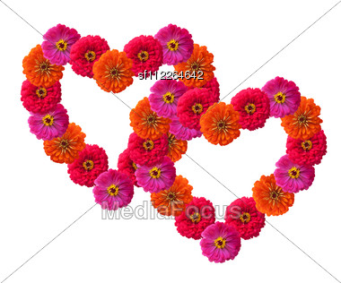 Heart Shape Made Out Of Rose Petals Stock Photo